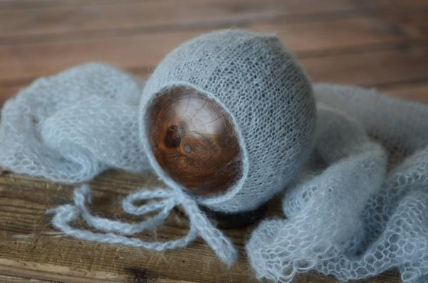 Light blue mohair wrap and hat set