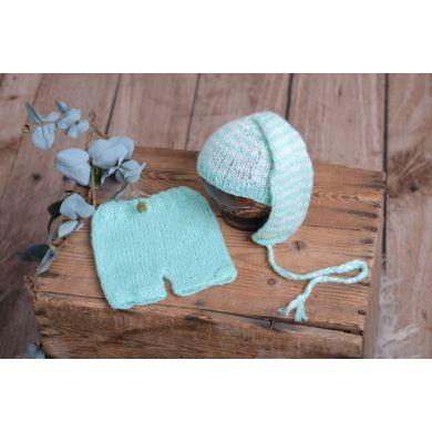 Mint green striped mohair set