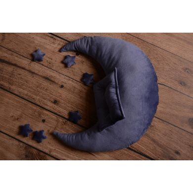Set luna, cuscino e stelle blu jeans