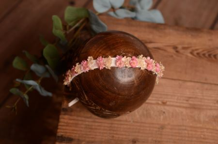 Beige and pink natural floral headdress