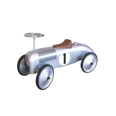 Silver grey vintage racing car