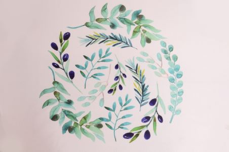 Olive printed fabric