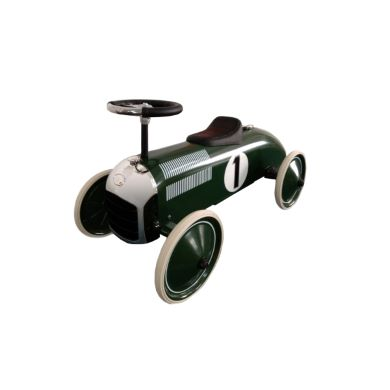 Green and white racing car