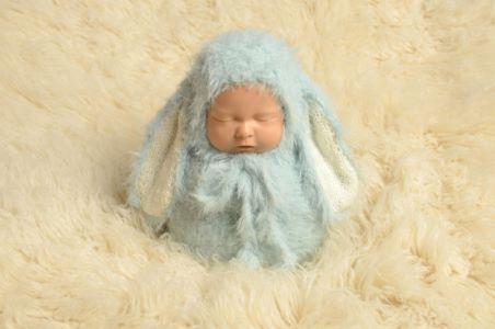 Baby blue rabbit sack and hat set