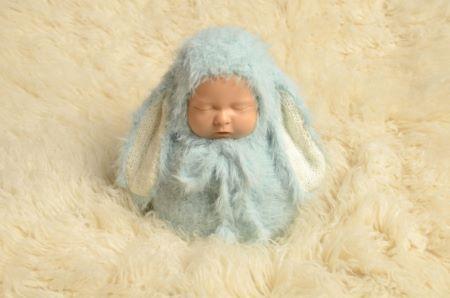 Ensemble gigoteuse et bonnet lapin bleu bébé