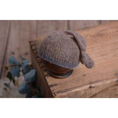 Mink and grey mohair hat with knot
