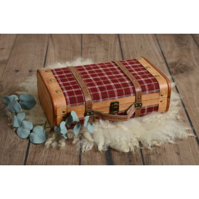 Small red check suitcase