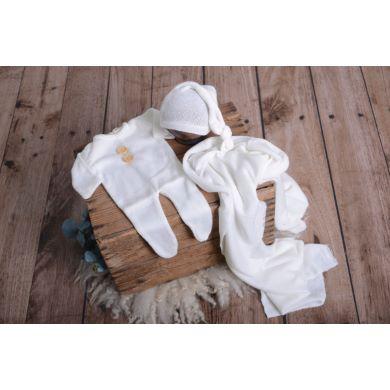 Set Wrap, Mütze und Pyjama aus Stickstoff in Weiß