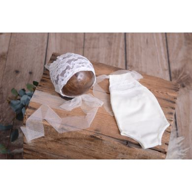 Off-white bodysuit and bonnet set