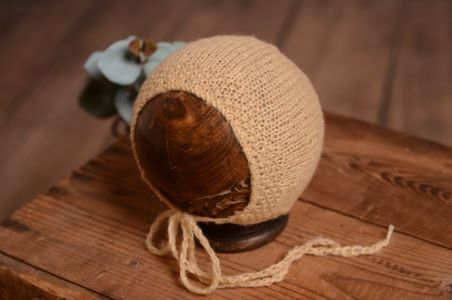 Beige smooth mohair hat