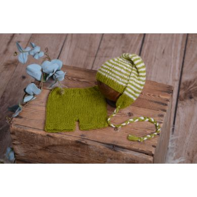 Olive green striped mohair set