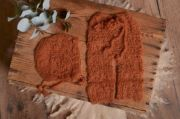 Offenes Set aus Angora in Dunkelorange