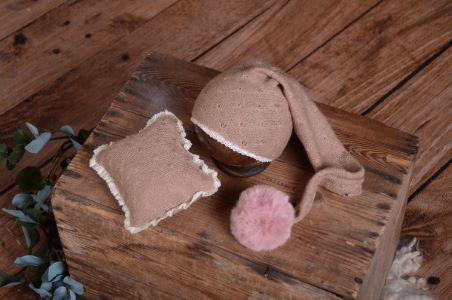 Gorro y minicojín Ámsterdam rosa palo