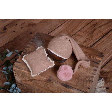 Berretto e minicuscino Amsterdam rosa antico