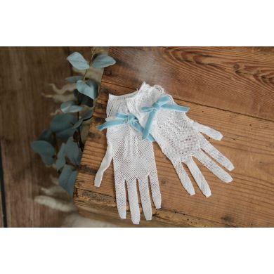 Weiße Handschuhe mit Schleife in Aquagrün