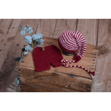 Red striped mohair set