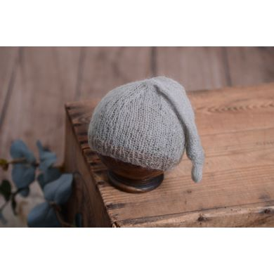 Grey and mink mohair hat with knot