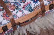 Large floral suitcase