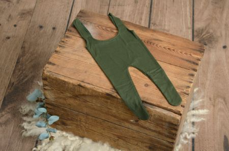 Bottle green stitch dungarees with feet