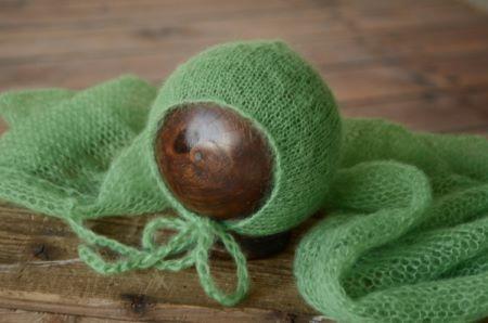 Set Wrap aus Angora mit Mütze in Grün