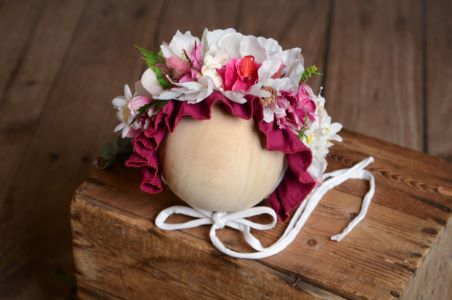 Bougainvillea and white flower baby bonnet