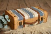 Small blue striped suitcase