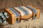 Kleiner gestreifter Koffer in Hellblau