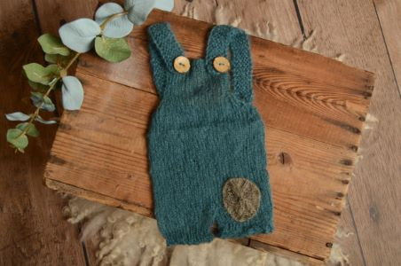 Dark blue short mohair dungaree with a patch