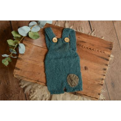 Blue short mohair dungaree with a patch