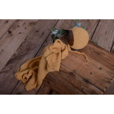 Light brown smooth mohair wrap and hat set
