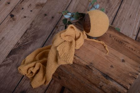 Set de wrap en mohair lisse et bonnet camel
