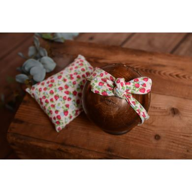 Mini pillow and bandanna with strawberries