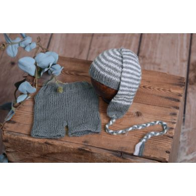 Dark grey striped mohair set
