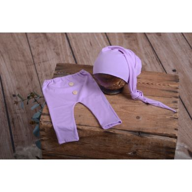Pack lilac smooth trousers and long hat