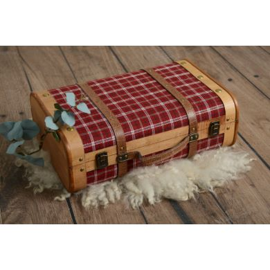 Large red check suitcase