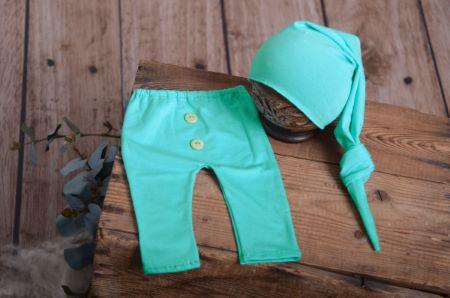 Set Hose und Mütze glatt in Aquagrün