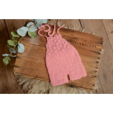 Pink short mohair dungaree