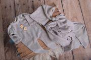 Set wrap, bonnet et pyjama en maille gris