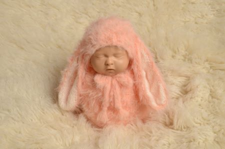 Baby pink rabbit sack and hat set