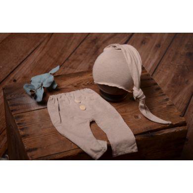 Pack de pantalón y gorro largo de punto con nudo beige jaspeado