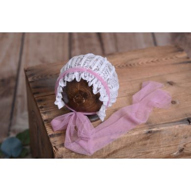 White and pink lace bonnet