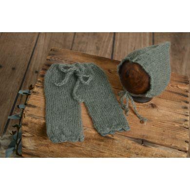 Conjunto de angora pantalón y gorro ajustable gris oscuro