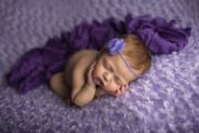 Serre-tête en mohair avec perle lilas