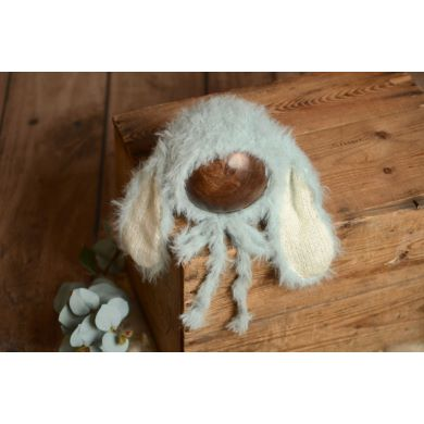 Baby blue fur hat with rabbit ears