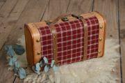Valise carreaux rouge petite