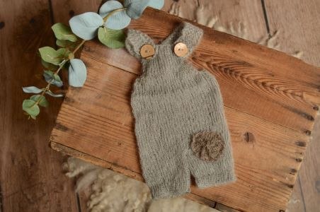 Grey short mohair dungaree with a patch
