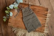 Dark grey short mohair dungaree