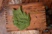 Green ruffled mohair bodysuit and headband