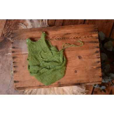 Green ruffled mohair bodysuit and headband