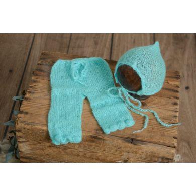 Conjunto de angora pantalón y gorro ajustable turquesa